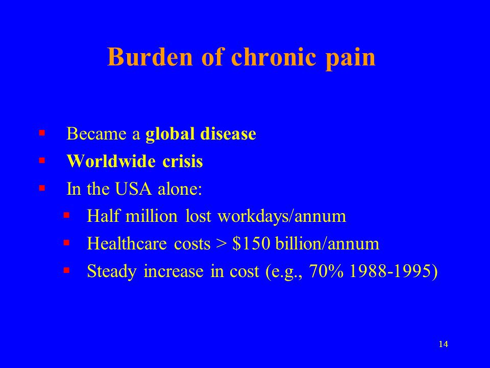 14 Burden of chronic pain Became a global disease Worldwide crisis In the USA alone: Half million lost workdays/annum Healthcare costs > $150 billion/