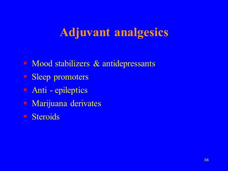 36 Adjuvant analgesics Mood stabilizers & antidepressants Sleep promoters Anti - epileptics Marijuana derivates Steroids