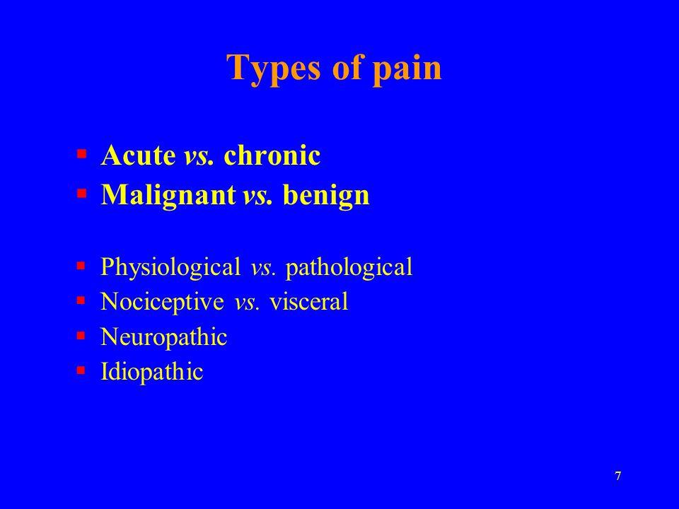 7 Types of pain Acute vs. chronic Malignant vs. benign Physiological vs. pathological Nociceptive vs. visceral Neuropathic Idiopathic