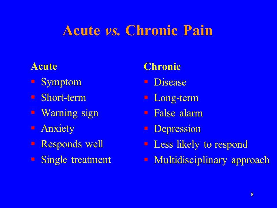 8 Acute vs. Chronic Pain Acute Symptom Short-term Warning sign Anxiety Responds well Single treatment Chronic Disease Long-term False alarm Depression