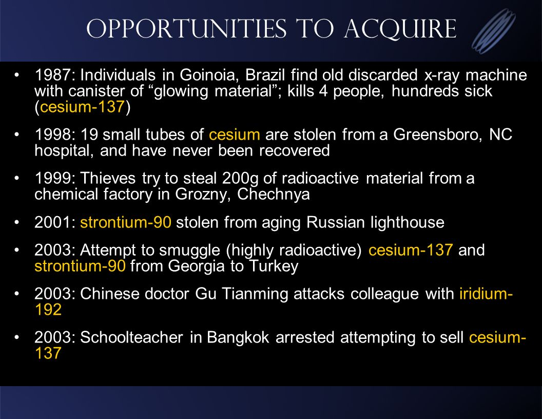 Opportunities to Acquire 1987: Individuals in Goinoia, Brazil find old discarded x-ray machine with canister of glowing material; kills 4 people, hundreds sick (cesium-137) 1998: 19 small tubes of cesium are stolen from a Greensboro, NC hospital, and have never been recovered 1999: Thieves try to steal 200g of radioactive material from a chemical factory in Grozny, Chechnya 2001: strontium-90 stolen from aging Russian lighthouse 2003: Attempt to smuggle (highly radioactive) cesium-137 and strontium-90 from Georgia to Turkey 2003: Chinese doctor Gu Tianming attacks colleague with iridium : Schoolteacher in Bangkok arrested attempting to sell cesium- 137