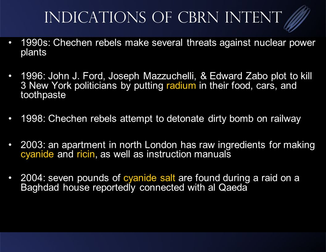 Indications of CBRN intent 1990s: Chechen rebels make several threats against nuclear power plants 1996: John J.