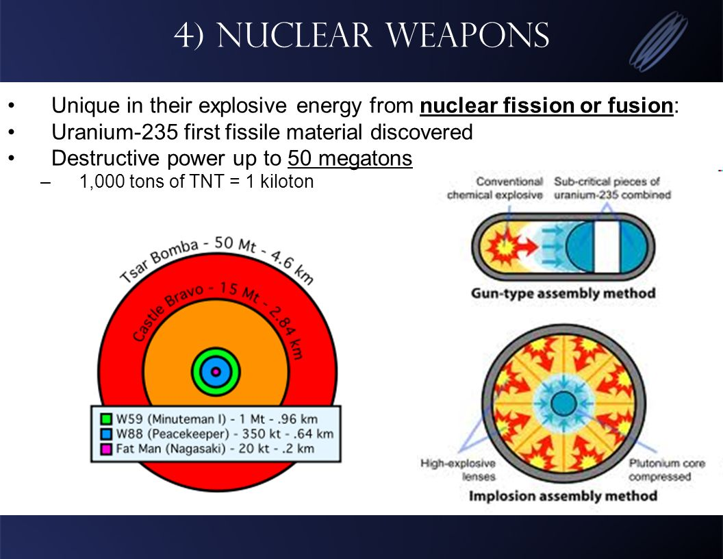4) Nuclear Weapons Unique in their explosive energy from nuclear fission or fusion: Uranium-235 first fissile material discovered Destructive power up to 50 megatons –1,000 tons of TNT = 1 kiloton