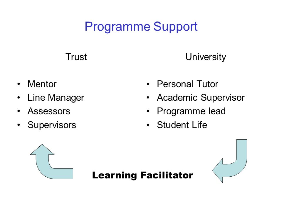 Programme Support Trust Mentor Line Manager Assessors Supervisors University Personal Tutor Academic Supervisor Programme lead Student Life Learning F