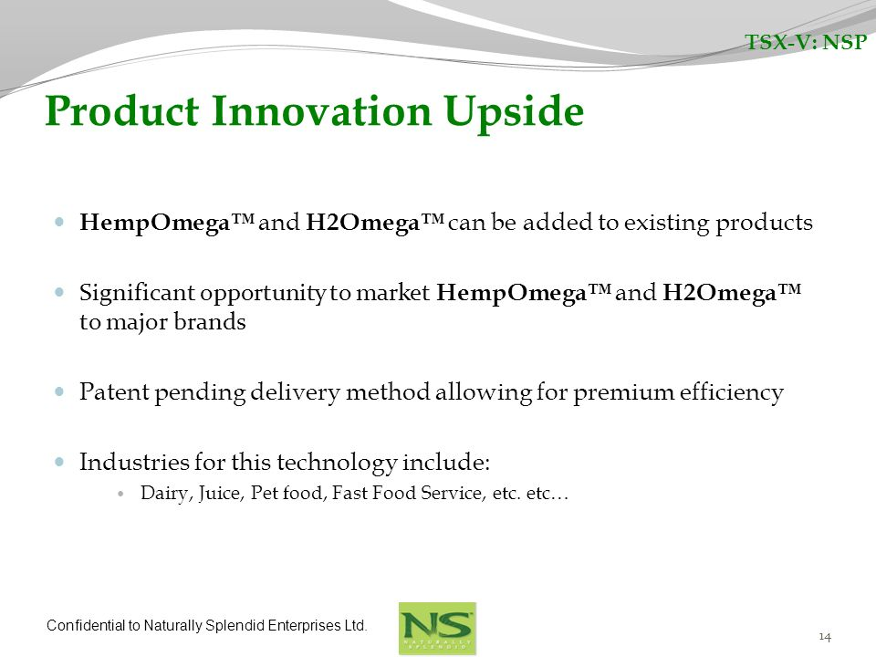 Confidential to Naturally Splendid Enterprises Ltd. 14 Product Innovation Upside HempOmega and H2Omega can be added to existing products Significant o