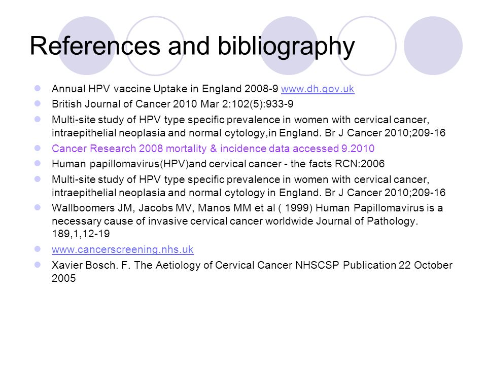 References and bibliography Annual HPV vaccine Uptake in England 2008-9 www.dh.gov.ukwww.dh.gov.uk British Journal of Cancer 2010 Mar 2:102(5):933-9 M