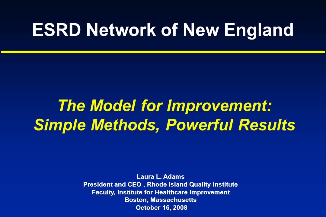 ESRD Network of New England Laura L. Adams President and CEO, Rhode Island Quality Institute Faculty, Institute for Healthcare Improvement Boston, Mas