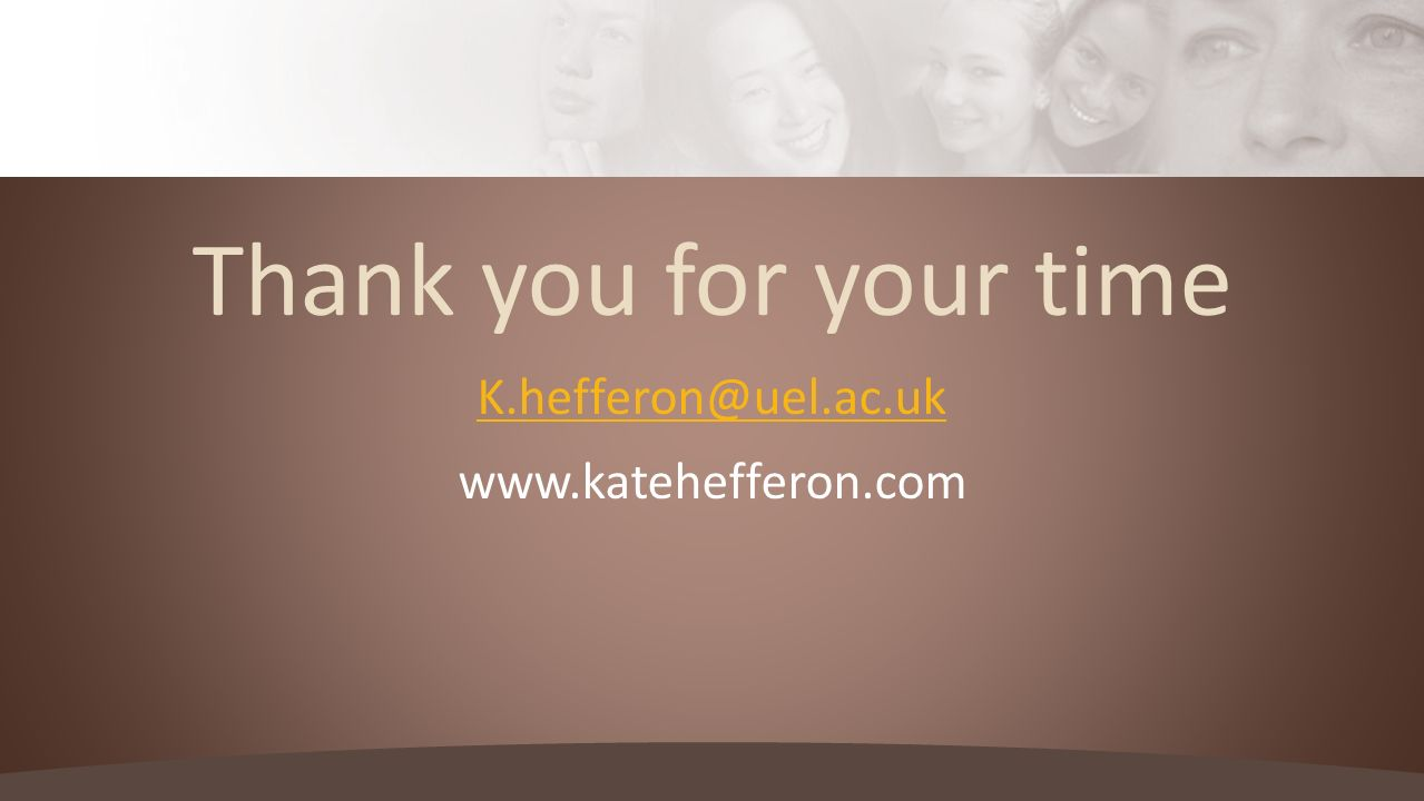 Thank you for your time K.hefferon@uel.ac.uk www.katehefferon.com