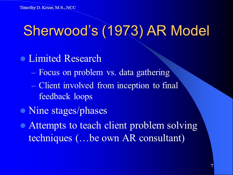 Timothy D.Kruse, M.S., NCC 7 Sherwoods (1973) AR Model Limited Research – Focus on problem vs.