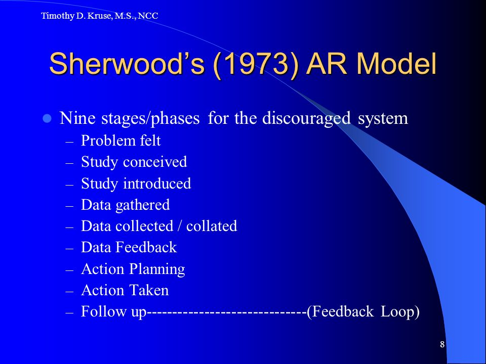 Timothy D. Kruse, M.S., NCC 8 Sherwoods (1973) AR Model Nine stages/phases for the discouraged system – Problem felt – Study conceived – Study introdu
