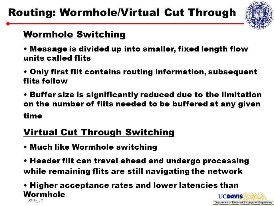Slide_13 Routing: Wormhole/Virtual Cut Through Wormhole Switching Message is divided up into smaller, fixed length flow units called flits Only first