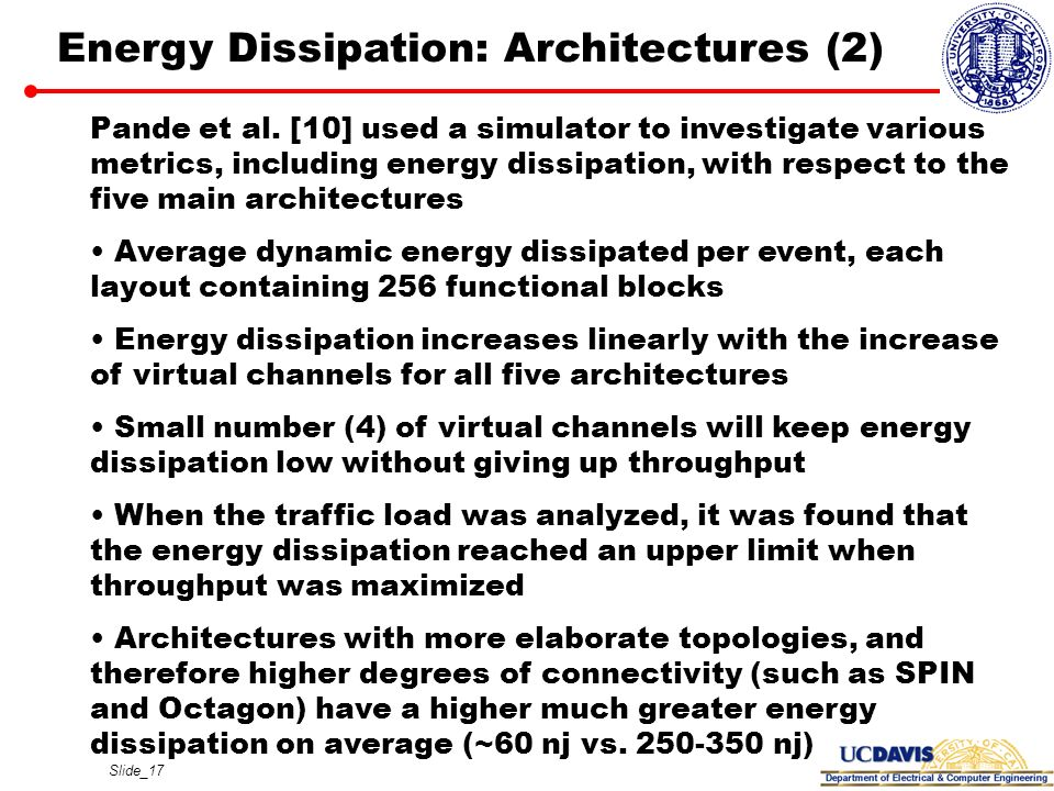 Slide_17 Energy Dissipation: Architectures (2) Pande et al. [10] used a simulator to investigate various metrics, including energy dissipation, with r