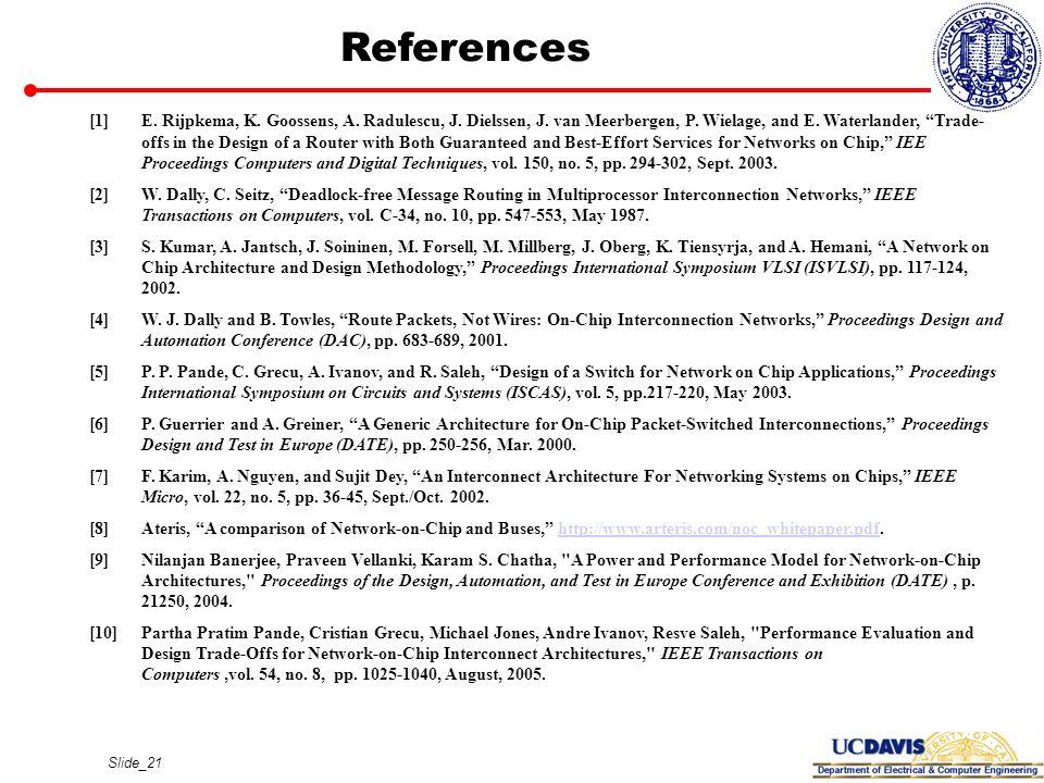 Slide_21 References [1]E. Rijpkema, K. Goossens, A. Radulescu, J. Dielssen, J. van Meerbergen, P. Wielage, and E. Waterlander, Trade- offs in the Desi