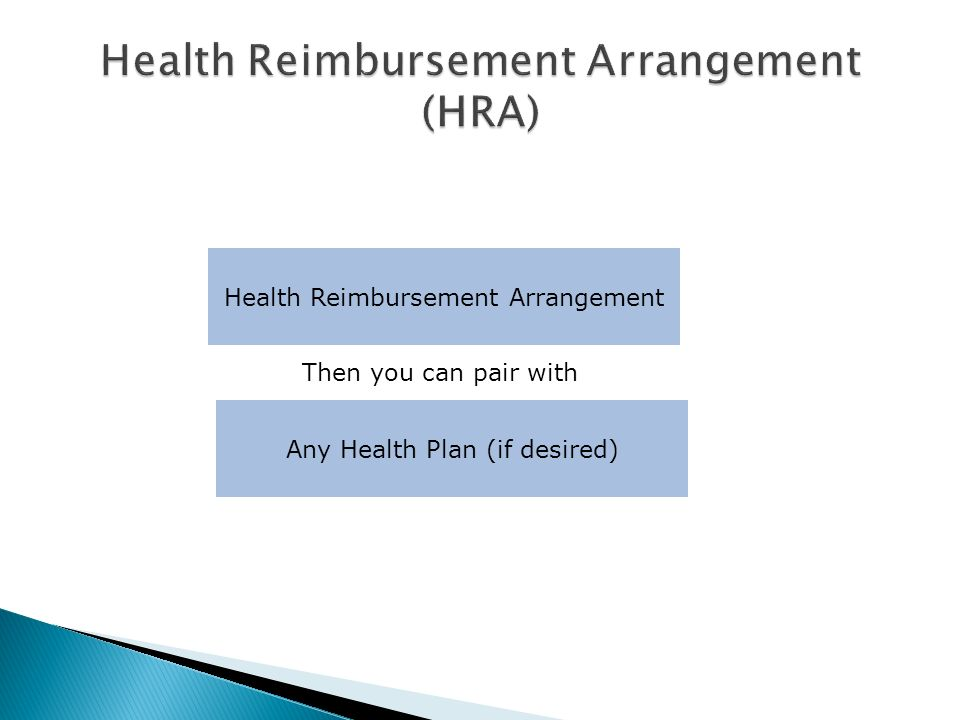 Health Reimbursement Arrangement Any Health Plan (if desired) Then you can pair with