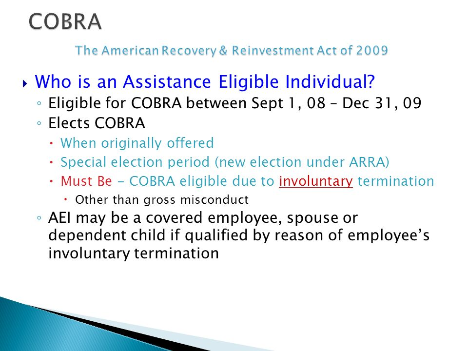 Who is an Assistance Eligible Individual.