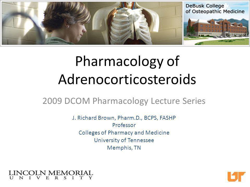 Major Corticosteroid Products in Use Today Prednisone (a pro drug that requires hepatic activation via cortisone reductase) Prednisolone (preferred in severe liver disease?) Dexamethasone (Decadron®) Methylprednisolone (Medrol®, SoluMedrol® for IV) Hydrocortisone (SoluCortef®) Triamcinolone (Aristocort®) Fludrocortisone (Florinef® for mineralocorticoid replacement)