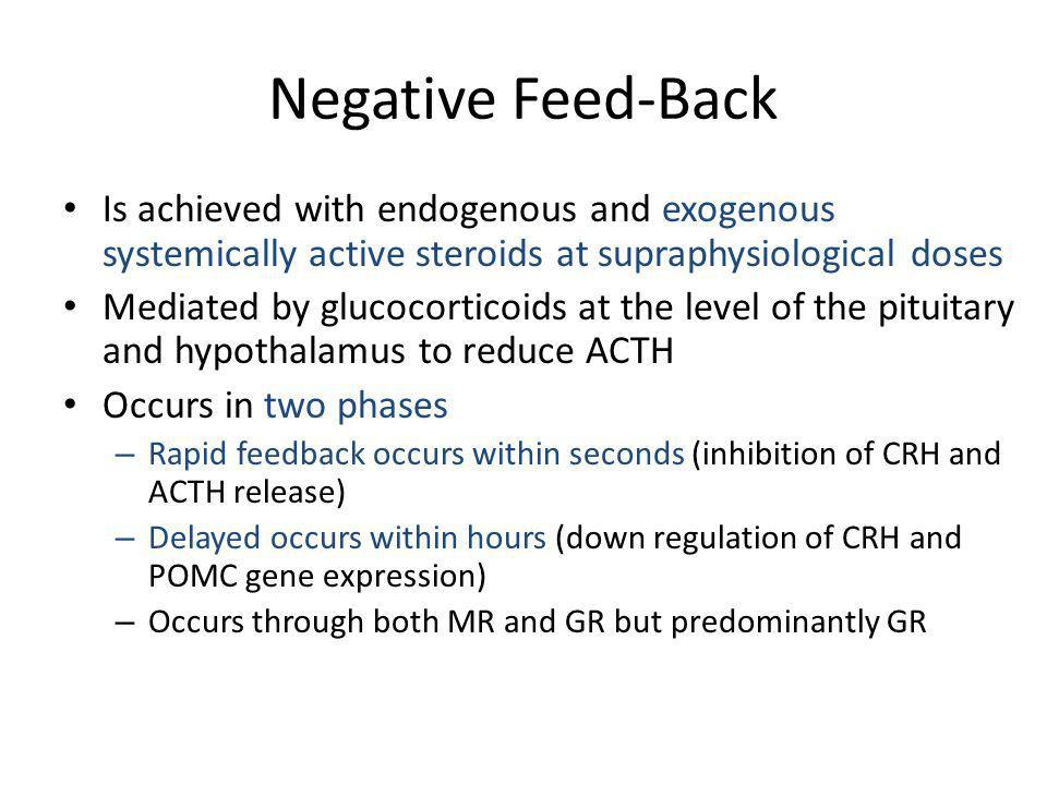 Negative Feed-Back Is achieved with endogenous and exogenous systemically active steroids at supraphysiological doses Mediated by glucocorticoids at t