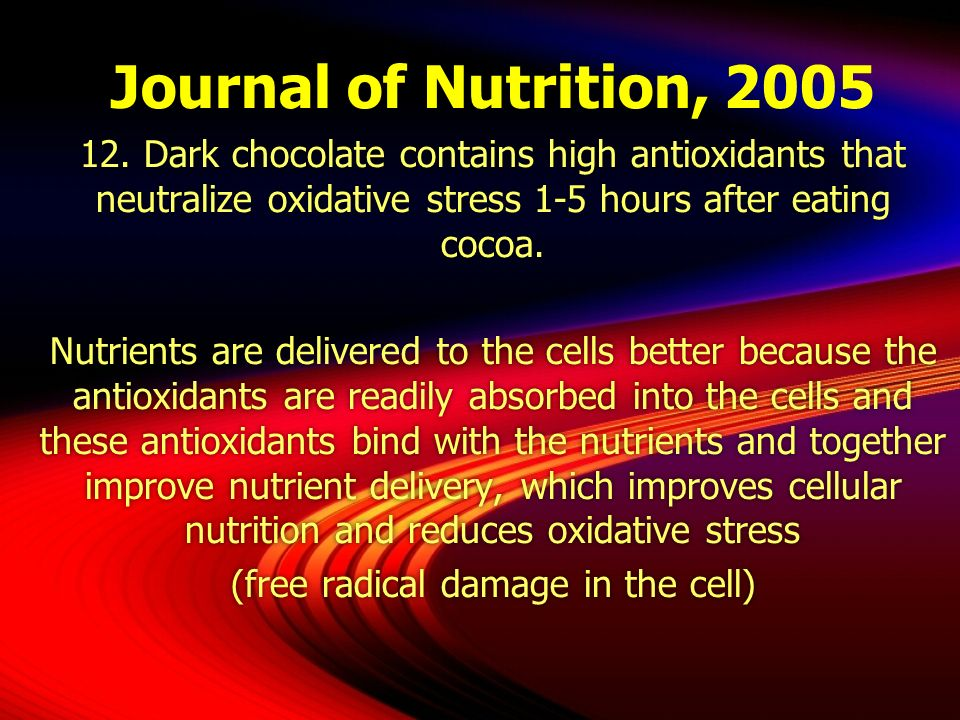 Journal of Nutrition, 2005 12. Dark chocolate contains high antioxidants that neutralize oxidative stress 1-5 hours after eating cocoa. Nutrients are