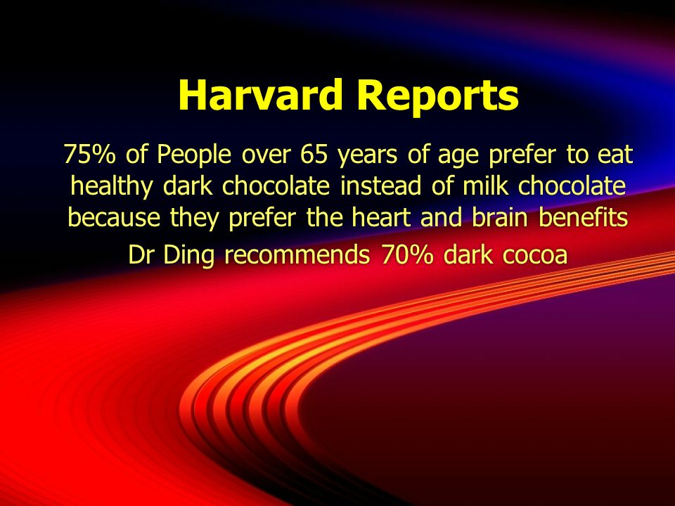Harvard Reports 75% of People over 65 years of age prefer to eat healthy dark chocolate instead of milk chocolate because they prefer the heart and br