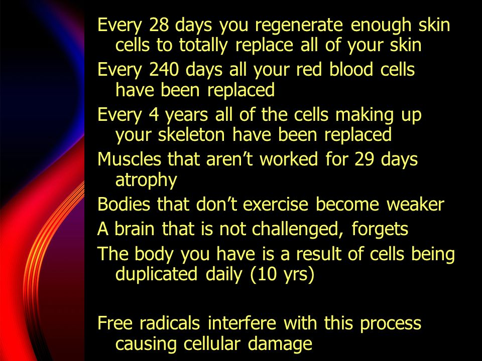 Every 28 days you regenerate enough skin cells to totally replace all of your skin Every 240 days all your red blood cells have been replaced Every 4