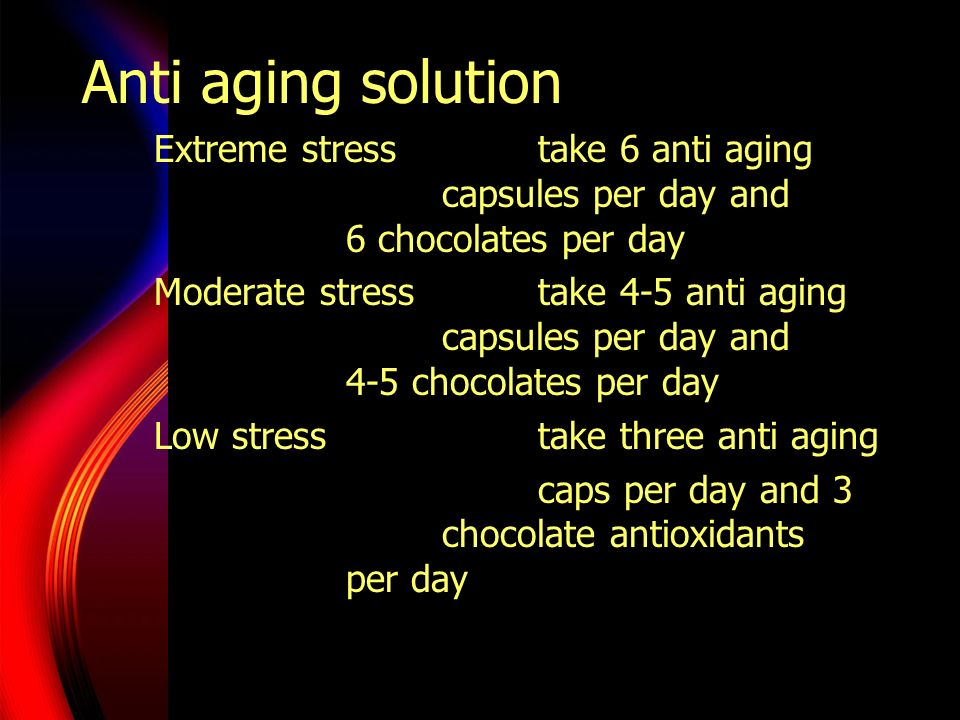 Anti aging solution Extreme stresstake 6 anti aging capsules per day and 6 chocolates per day Moderate stresstake 4-5 anti aging capsules per day and