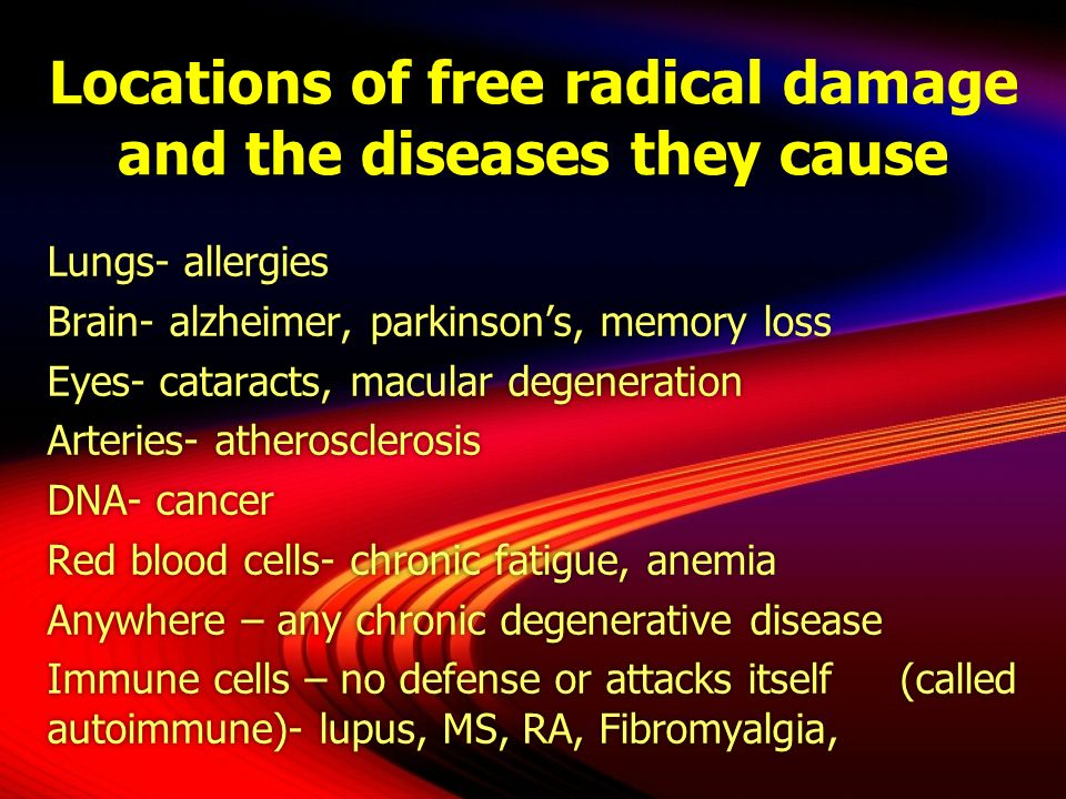 Locations of free radical damage and the diseases they cause Lungs- allergies Brain- alzheimer, parkinsons, memory loss Eyes- cataracts, macular degen