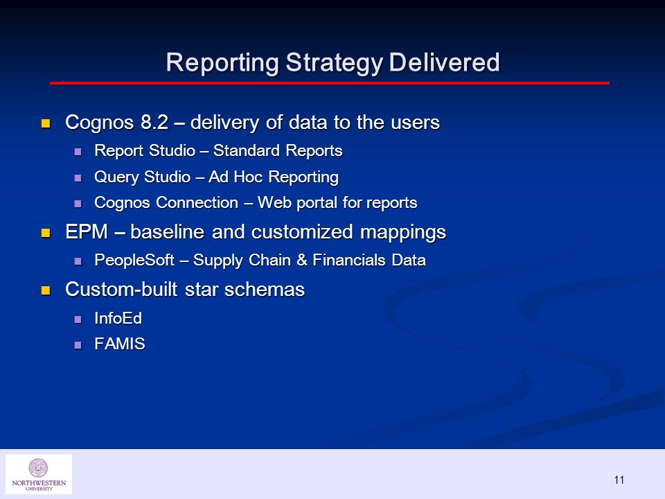 11 Reporting Strategy Delivered Cognos 8.2 – delivery of data to the users Cognos 8.2 – delivery of data to the users Report Studio – Standard Reports Report Studio – Standard Reports Query Studio – Ad Hoc Reporting Query Studio – Ad Hoc Reporting Cognos Connection – Web portal for reports Cognos Connection – Web portal for reports EPM – baseline and customized mappings EPM – baseline and customized mappings PeopleSoft – Supply Chain & Financials Data PeopleSoft – Supply Chain & Financials Data Custom-built star schemas Custom-built star schemas InfoEd InfoEd FAMIS FAMIS