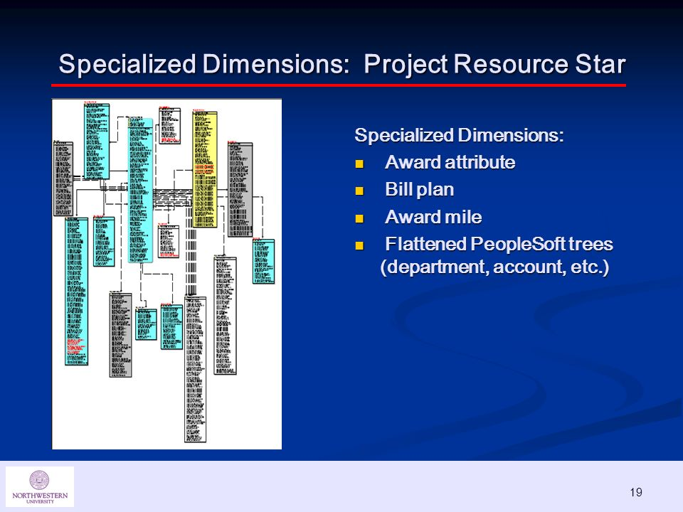 19 Specialized Dimensions: Project Resource Star Specialized Dimensions: Award attribute Bill plan Award mile Flattened PeopleSoft trees (department, account, etc.)