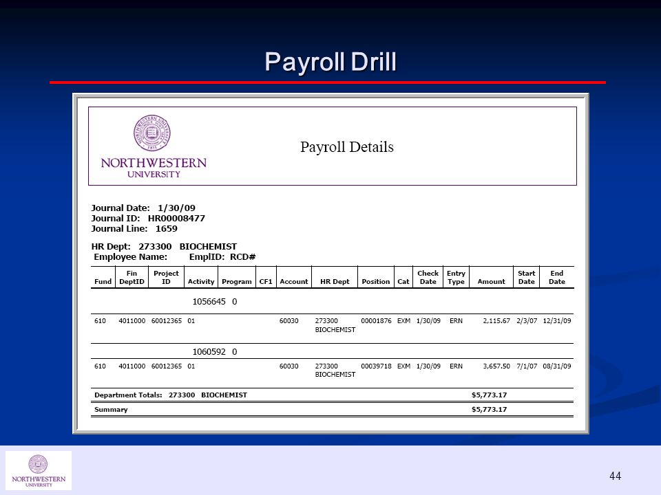 44 Payroll Drill