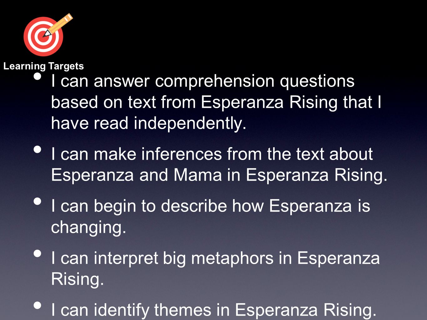I can answer comprehension questions based on text from Esperanza Rising that I have read independently. I can make inferences from the text about Esp