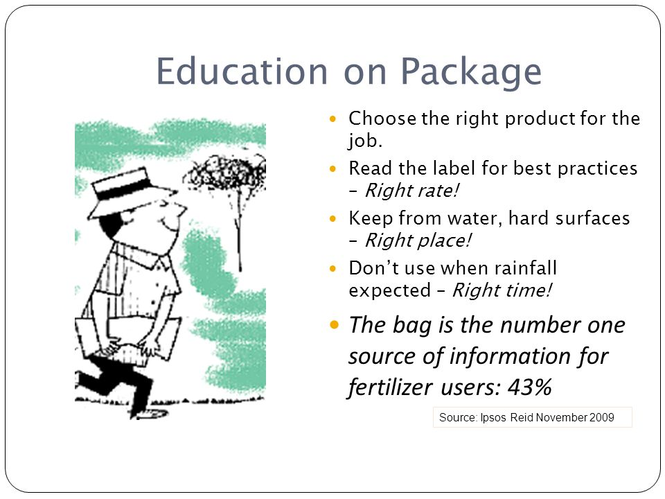 Education on Package Source: Ipsos Reid November 2009 Choose the right product for the job. Read the label for best practices – Right rate! Keep from