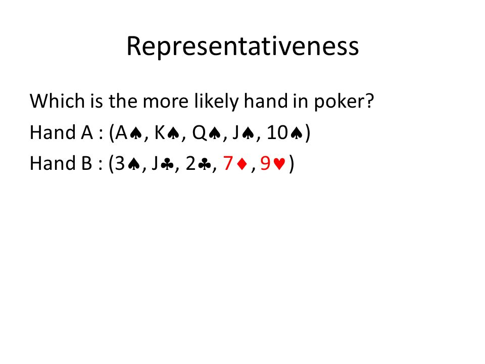 Representativeness bias Both hands are actually equally likely, though most say that hand B is more likely.