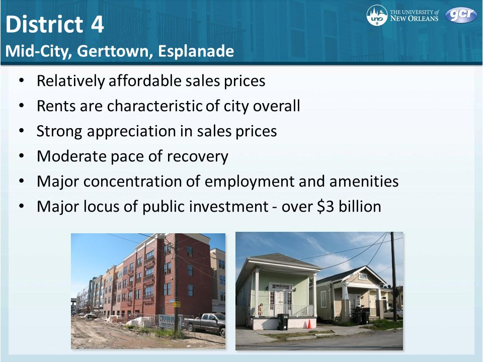 Relatively affordable sales prices Rents are characteristic of city overall Strong appreciation in sales prices Moderate pace of recovery Major concentration of employment and amenities Major locus of public investment - over $3 billion District 4 Mid-City, Gerttown, Esplanade