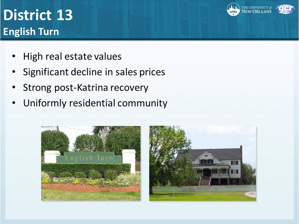 District 13 English Turn High real estate values Significant decline in sales prices Strong post-Katrina recovery Uniformly residential community