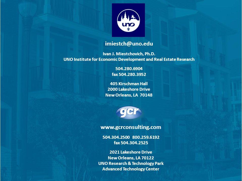 www.gcrconsulting.com 504.304.2500 800.259.6192 fax 504.304.2525 2021 Lakeshore Drive New Orleans, LA 70122 UNO Research & Technology Park Advanced Technology Center imiestch@uno.edu Ivan J.