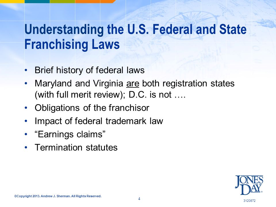 ©Copyright 2013. Andrew J. Sherman. All Rights Reserved. Understanding the U.S. Federal and State Franchising Laws Brief history of federal laws Maryl