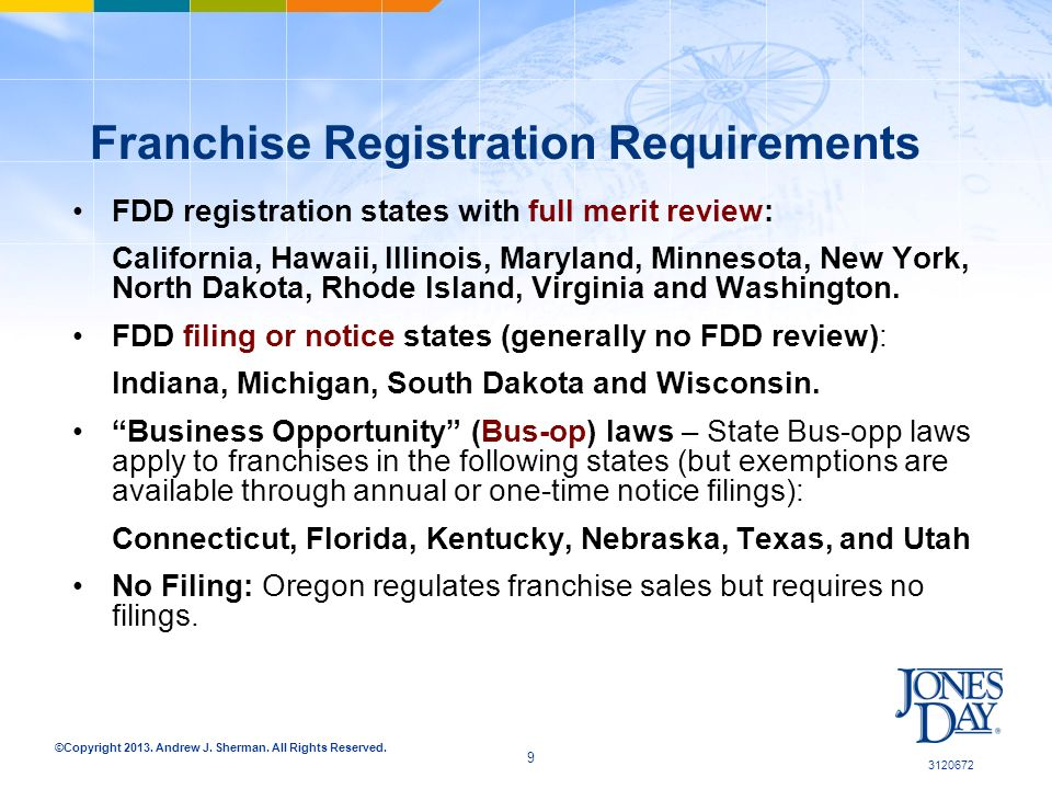 ©Copyright 2013. Andrew J. Sherman. All Rights Reserved. Franchise Registration Requirements FDD registration states with full merit review: Californi