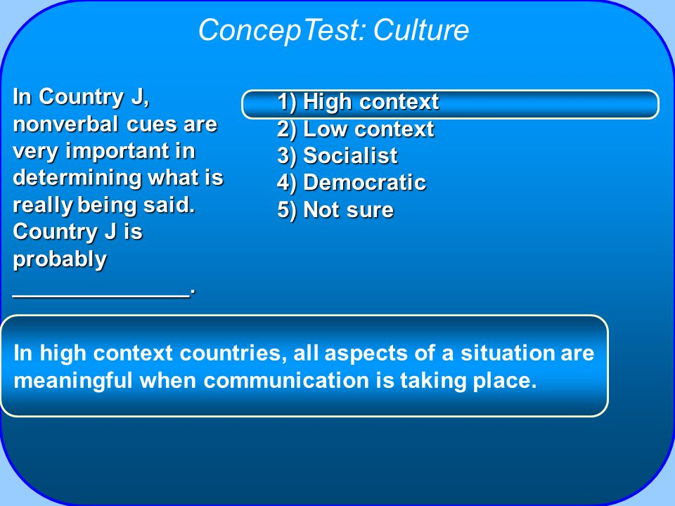 ConcepTest: Culture 1) High context 2) Low context 3) Socialist 4) Democratic 5) Not sure In Country J, nonverbal cues are very important in determini