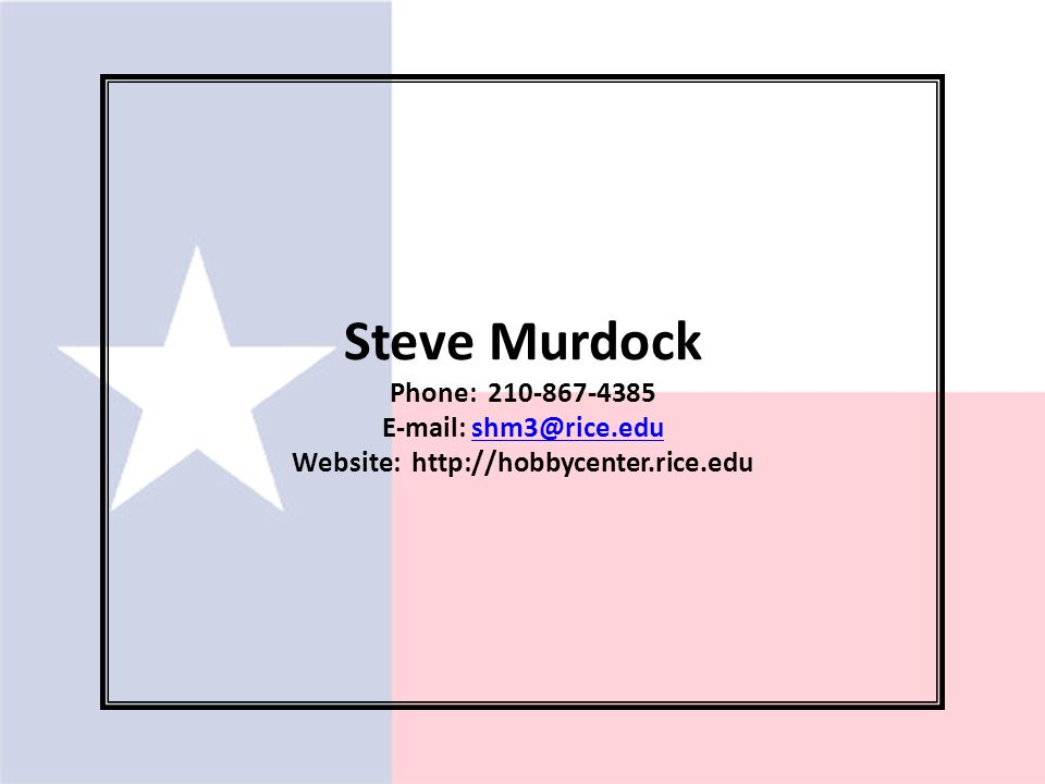 Steve Murdock Phone: Website:
