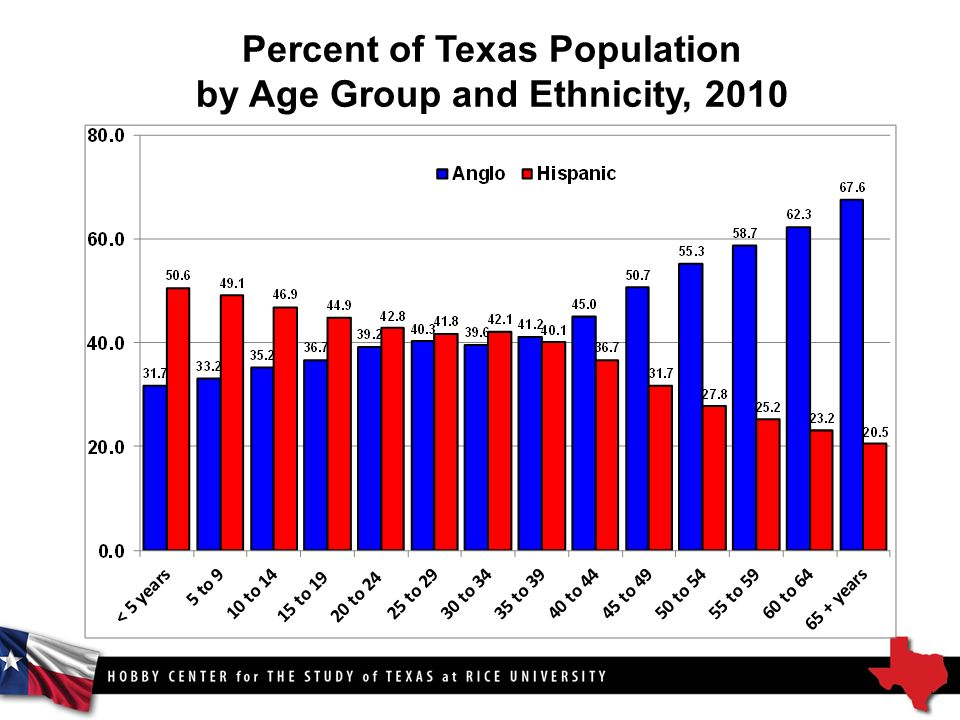 Percent of Texas Population by Age Group and Ethnicity, 2010