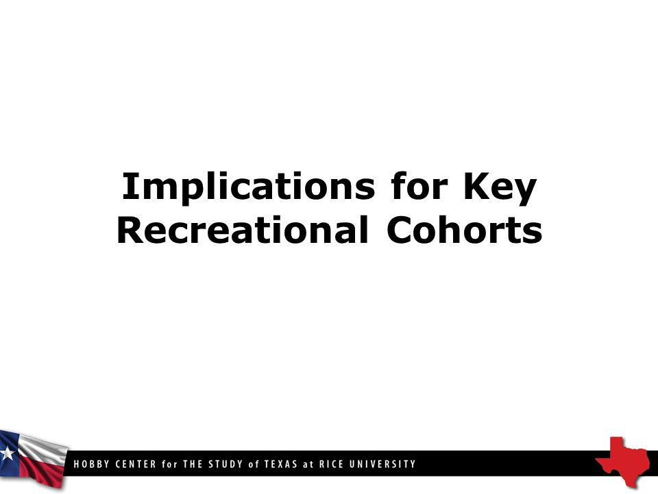 Implications for Key Recreational Cohorts