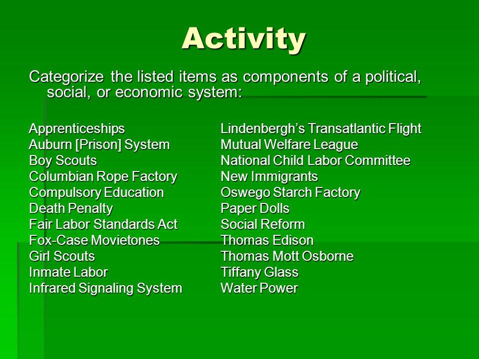 Activity Categorize the listed items as components of a political, social, or economic system: Apprenticeships Lindenberghs Transatlantic Flight Aubur