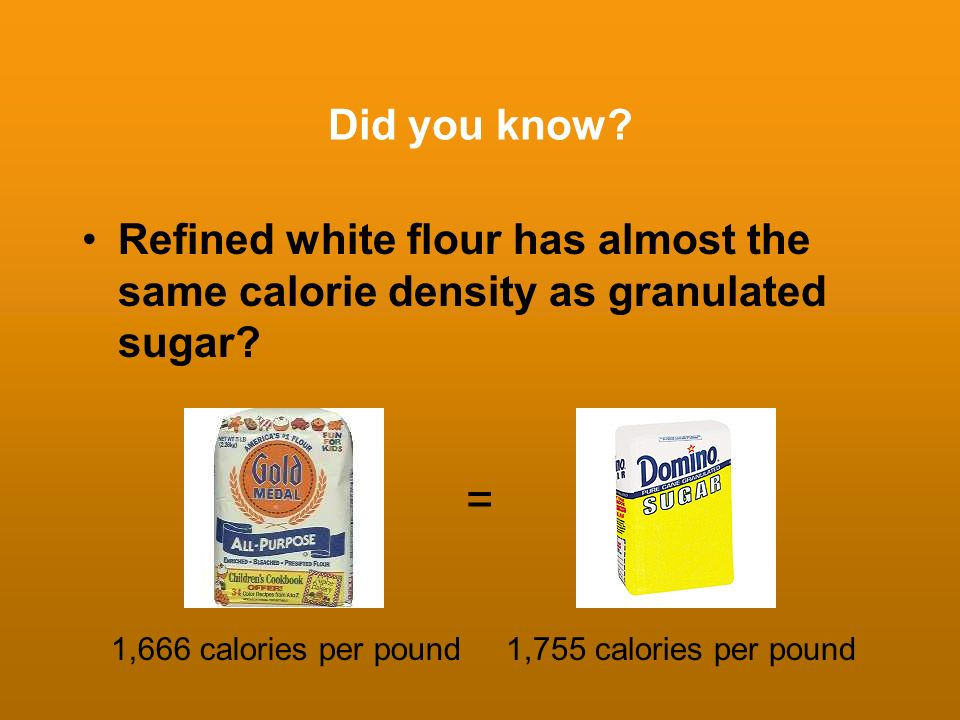 Did you know? Refined white flour has almost the same calorie density as granulated sugar? 1,755 calories per pound1,666 calories per pound =