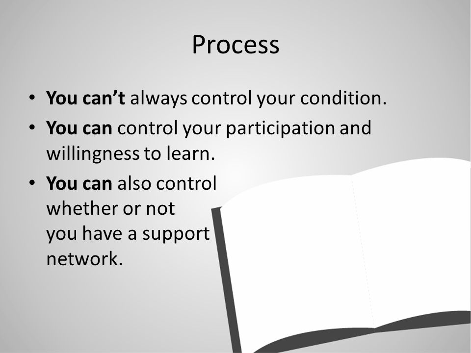 Process You cant always control your condition.
