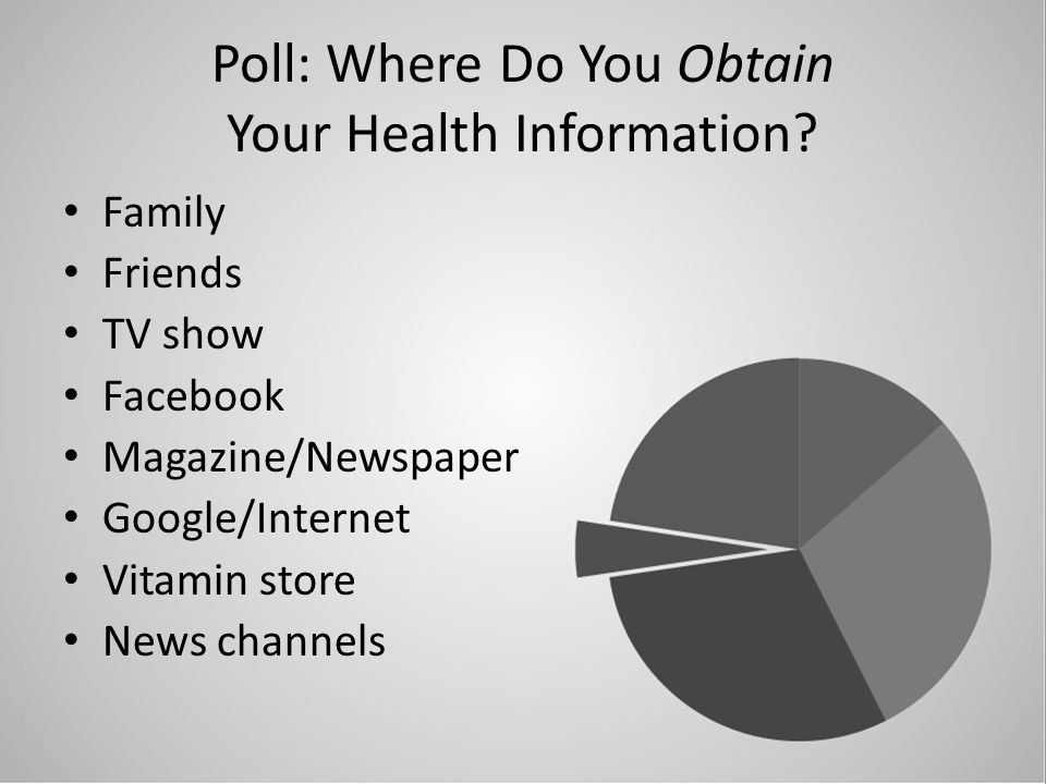 Poll: Where Do You Obtain Your Health Information? Family Friends TV show Facebook Magazine/Newspaper Google/Internet Vitamin store News channels