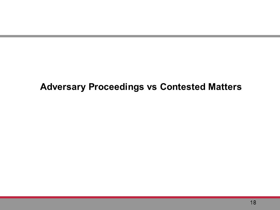 18 Adversary Proceedings vs Contested Matters
