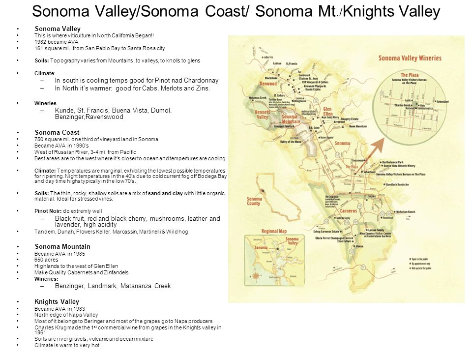 Sonoma Valley/Sonoma Coast/ Sonoma Mt./ Knights Valley Sonoma Valley This is where viticulture in North California Began!.