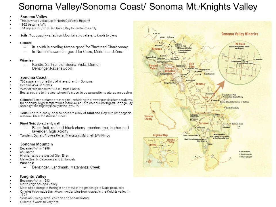 Sonoma Valley/Sonoma Coast/ Sonoma Mt./ Knights Valley Sonoma Valley This is where viticulture in North California Began!! 1982 became AVA 161 square
