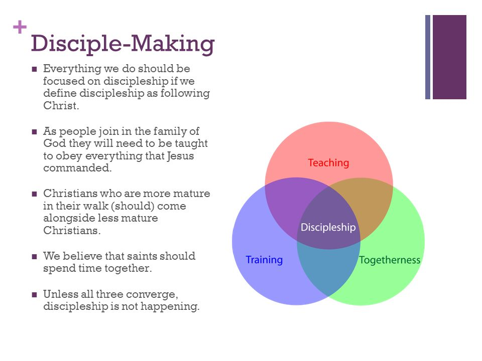 + Disciple-Making Everything we do should be focused on discipleship if we define discipleship as following Christ.
