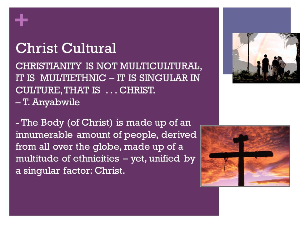 + Christ Cultural CHRISTIANITY IS NOT MULTICULTURAL, IT IS MULTIETHNIC – IT IS SINGULAR IN CULTURE, THAT IS...